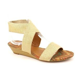 Lucky Brand Hunter Gold Ankle Strap Wedge Sandals
